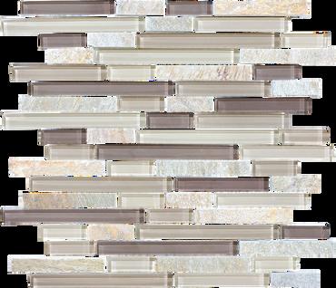Glass Slate and Quartz Cotton Wood Glass Quartz Blend Linear Mosaic 12x12 Sheet