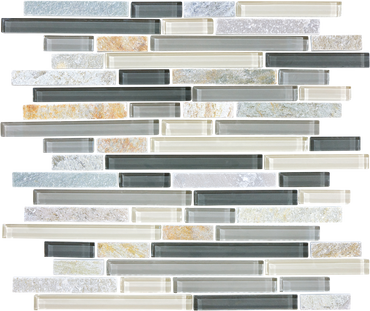 Glass Slate and Quartz Silver Aspen Glass Quartz Blend Linear Mosaic 12x12 Sheet