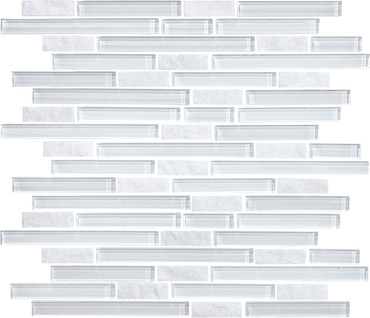 Glass Slate and Quartz Norwegian ice Glass Quartz Blend Linear Mosaic 12x12 Sheet