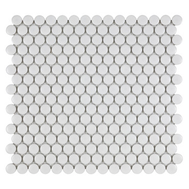 Porcelart White Matte 3/4 in. Penny Round Mosaic (SF200077)