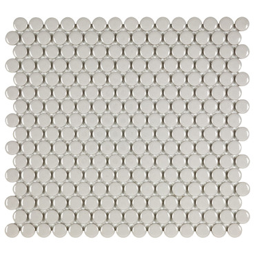 Porcelart Taupe Glossy 3/4 in. Penny Round Mosaic (SF200080)