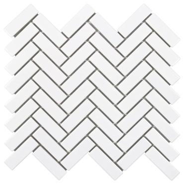 Porcelart White Glossy Herringbone Mosaic 1x3 (SF200081)