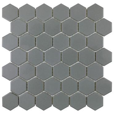 "Porcelart Grey Matte 2"" Hex Mosaic (SF200073)"