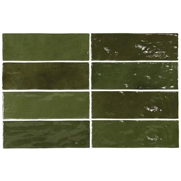 La Riviera Botanical Green Glossy Ceramic 2.5x8