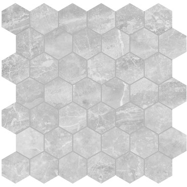 Plata Perla Grigia Matte Porcelain 2 in. Hexagon Mosaic (4501-0414-0)
