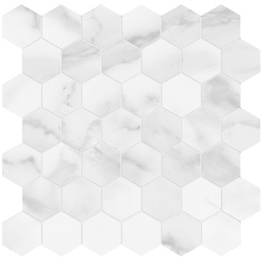 Plata Statuario Brina Matte Porcelain 2 in. Hexagon Mosaic (4501-0412-0)