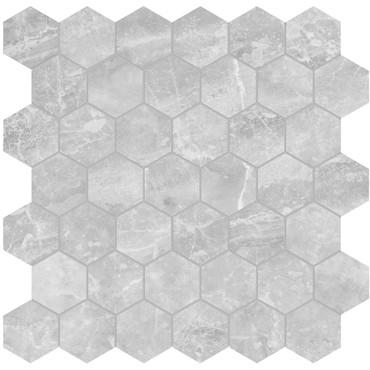 Plata Perla Grigia Polished Porcelain 2 in. Hexagon Mosaic (4501-0413-0)