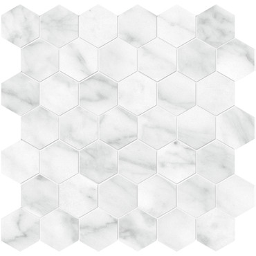 Plata Carrara Abisso Polished Porcelain 2 in. Hexagon Mosaic (4501-0417-0)