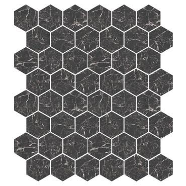 Marbles Marmo Nero Matte Hexagon Mosaic on 9x11 Sheet (1102373)