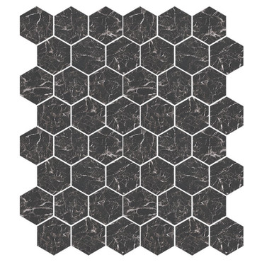 Marbles Marmo Nero Polished Hexagon Mosaic on 9x11 Sheet (1102378)