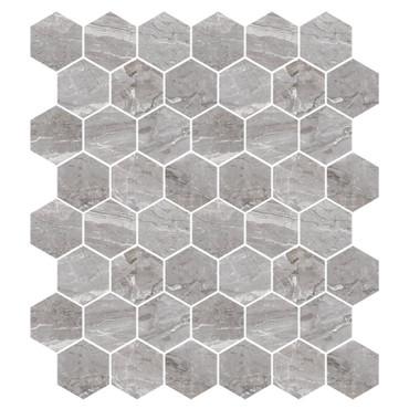 Marbles Oniciata Grey Polished Hexagon Mosaic on 9x11 Sheet (1102377)
