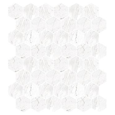 Marbles Carrara White Polished Hexagon Mosaic on 9x11 Sheet (1102375)
