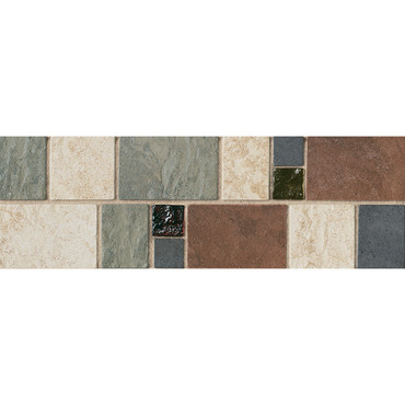 """Continental Slate - 4X12 Decorative with 1"""" Glass Insert"""