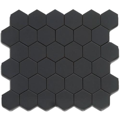 CC Mosaics - Hexagon Black Matte Mosaic 2x2 on 12x12 Sheet (UFCC103-12M)