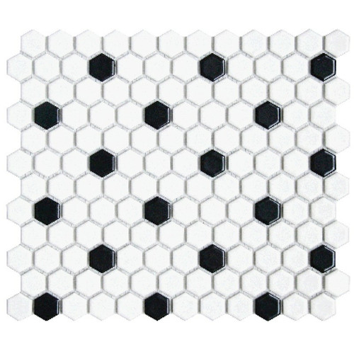 "CC Mosaics Matte Hexagon White & Black 1"" Mosaic on 12x12 Sheet"