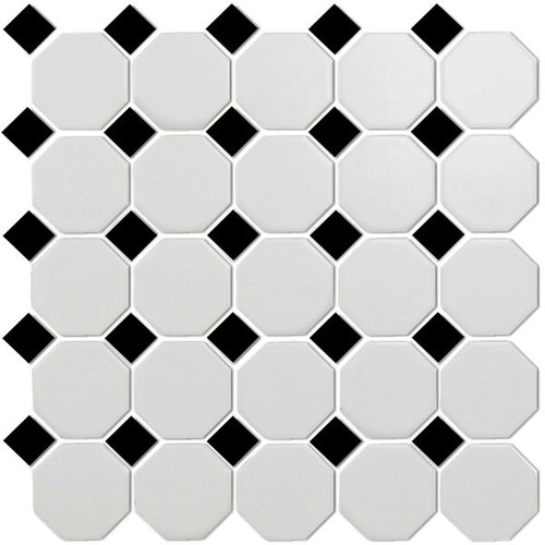 CC Mosaics - Matte Octagonal Snow White & Black Mosaic 12x12