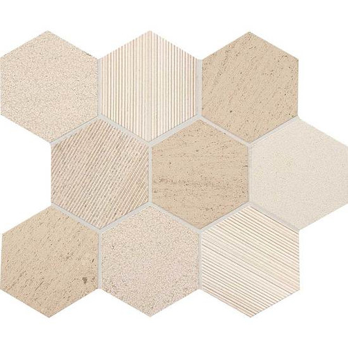 """Ascend Honest Greige Mixed Finishes 4""""  Mosaics Hex"""
