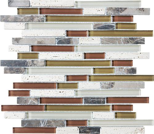 Cabernet Glass Stone Linear Blend Mosaics