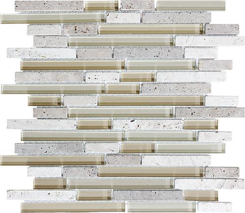 Cr̬me Glass Stone Linear Blend Mosaics