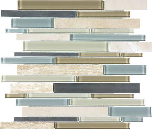 Sea Coast Glass Stone Stainless Linear Mosaics