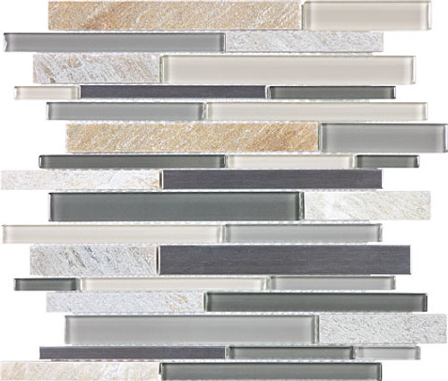 Fossil Rock Glass Stone Stainless Linear Mosaics