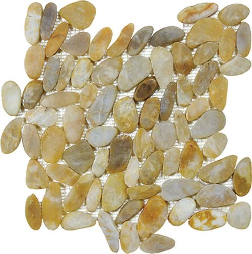 Zen Tonga Sunset Flat Polished Pebble Mosaics 12x12