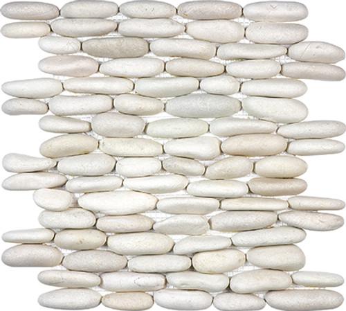 Serenity Ivory Stacked Pebble Mosaics 12x12