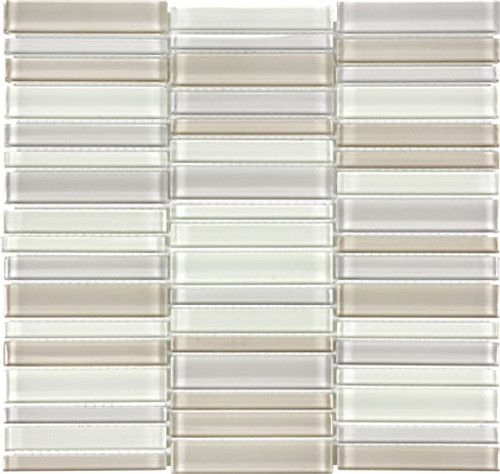 Element Natural Blend Straight Stacked Glass Mosaics