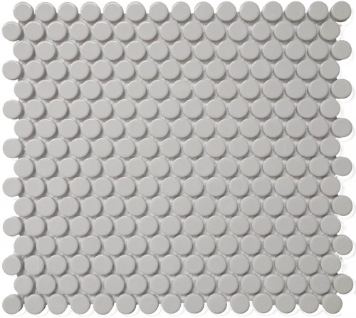 CC Mosaics - Bright Grey Penny Round Mosaic 12x12