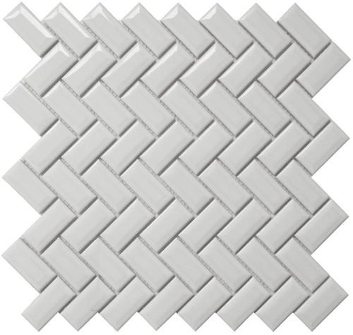 CC Mosaics - Bright White Diamond Herring 12x12