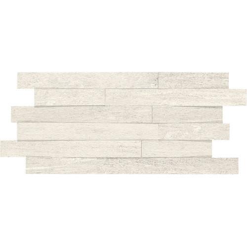 "Ambassador - Wanderlust White Unpolished Random Linear Mosaic 12"" x 24"""