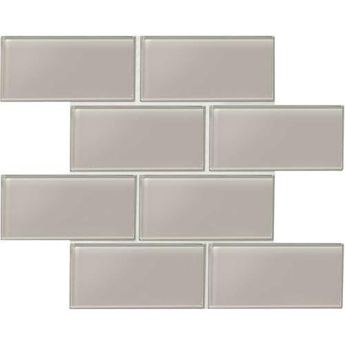 "Amity - Grey Subway Glass Tile 3"" x 6"""