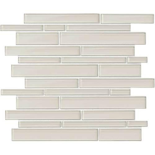 "Amity - Taupe Random Linear Glass Mosaic 11-7/16"" x 13-7/8"""