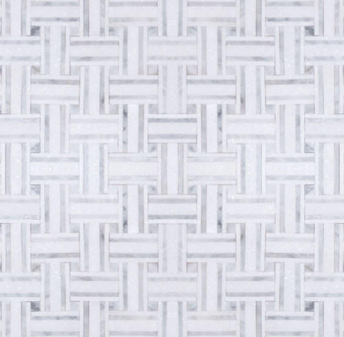 Manhattan Thassos & Carrara Gioia Polished Bacon Mosaic (MB101)