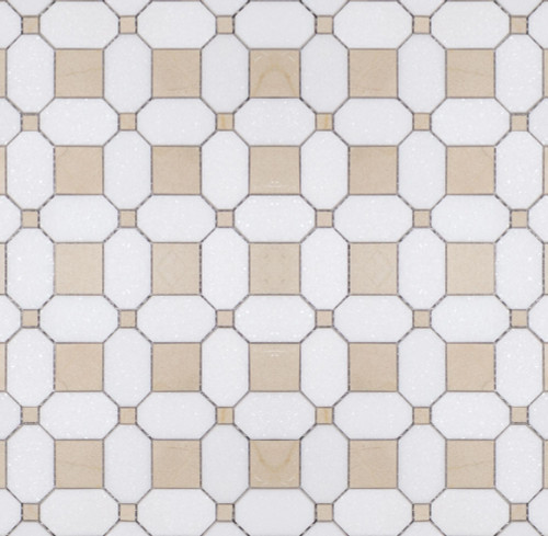 Manhattan Thassos & Crema Polished Square Dot Mosaic (MB104)