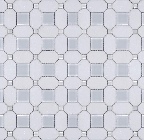Manhattan Thassos Polished Glass Square Dot Mosaic (MB107)