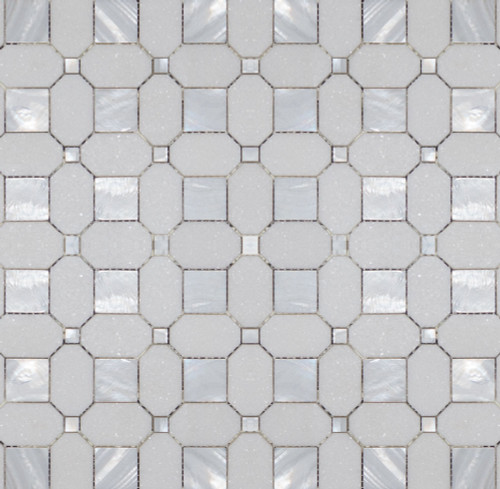 Manhattan Thassos & Mother of Pearl Polished Square Dot Mosaic (MB121)