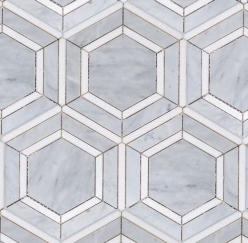 Manhattan Calacatta Carrara & Thassos Polished Ovation Mosaic (MB124)