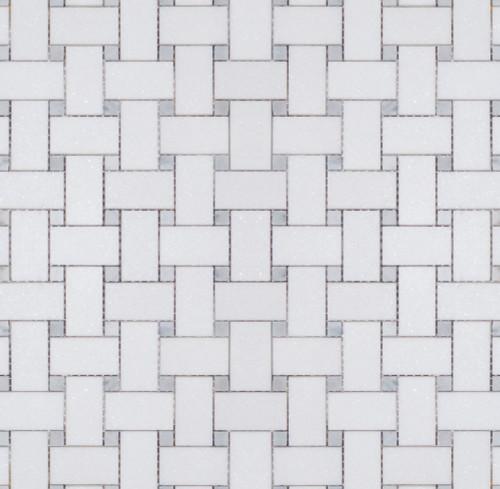 Manhattan Thassos with Carrara Dot Polished Basketweave Mosaic (MBW115)