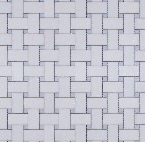 Manhattan Thassos with Blue Dot Polished Basketweave Mosaic (MBW116)