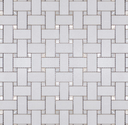 Manhattan Thassos with Mother of Pearl Dot Polished Basketweave Mosaic (MBW117)