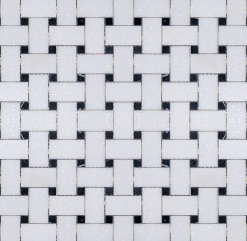 Manhattan Thassos with Black Dot Polished Basketweave Mosaic (MBW119)