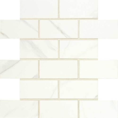 Florentine Collection - Carrara Matte Porcelain Brick-Joint Mosaic 2x4 On 12x12 Sheet