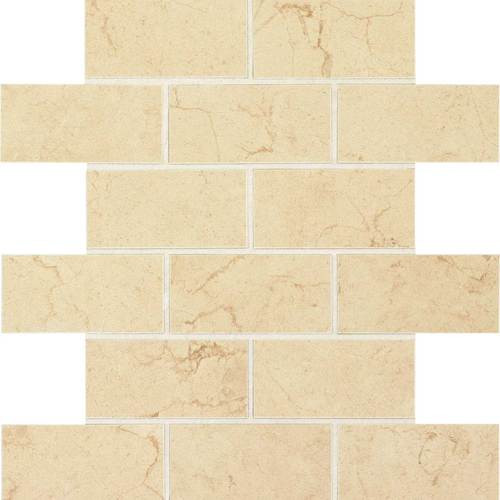 Florentine Collection - Marfil Matte Porcelain Brick-Joint Mosaic 2x4 On 12x12 Sheet