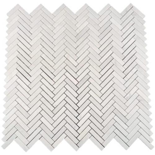 Eastern White Herringbone Polished 12x12