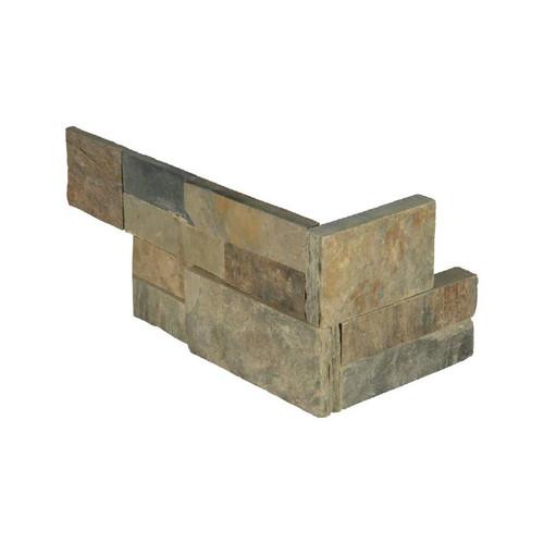 """Ledger Panel Rustic Gold Splitface """"L"""" Corner 6x12x6 (LPNLSRUSGLD618COR)"""