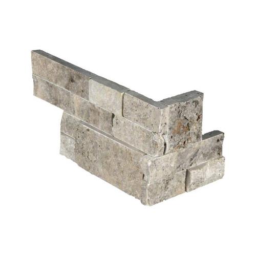 """Ledger Panel Silver Travertine Splitface """"L"""" Corner 6x12x6 (LPNLTSIL618COR)"""