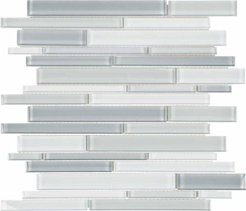 Element Shades of Grey Blended Random Strip Glass Mosaics (35-096)