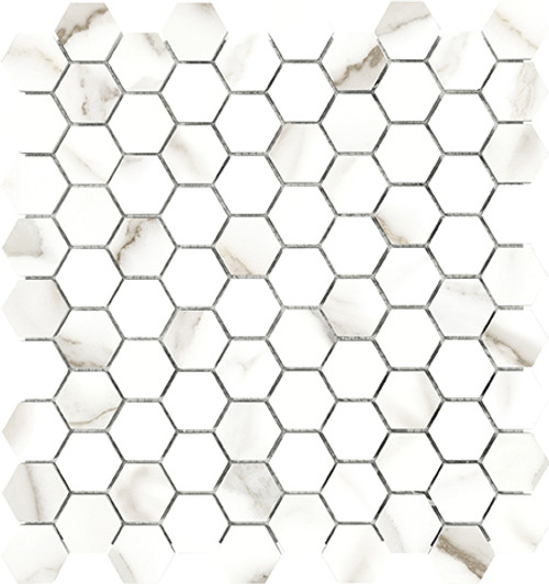 Mayfair Calacatta Oro 1.25x1.25 HD Hexagon Polished Porcelain Mosaics (69-922)