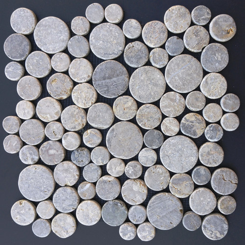 Tumbled Marble Mosaic Java Coins Pewter 12x12 Seamless Interlocking (TOETMMJCPEW1212)